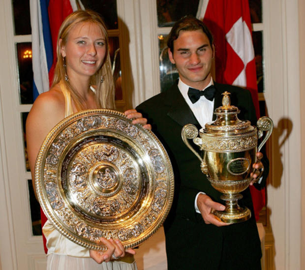 Maria Sharapova of Russia and Roger Federer of Switzerland pose for photographs