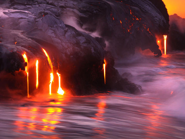 Dramatic lava flow in Hawaii