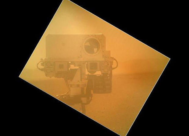 On Sol 32 (Sept. 7, 2012) the Curiosity rover used a camera located on its arm to obtain this self portrait. The image of the top of Curiosity's Remote Sensing Mast, shows the Mastcam and Chemcam cameras.