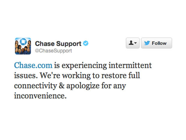 """The Chase Twitter account earlier today described the problems as """"intermittent issues."""""""