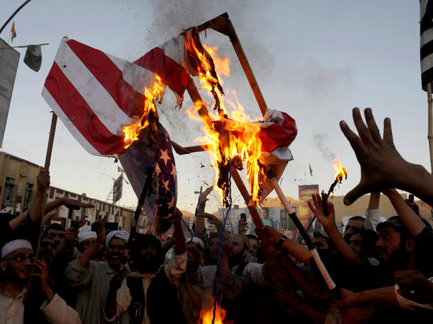 Pakistan, protests, protesters, american flag, burning