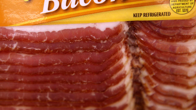 A package of bacon is displayed on a shelf at United Market Aug. 17, 2010, in San Rafael, Calif.