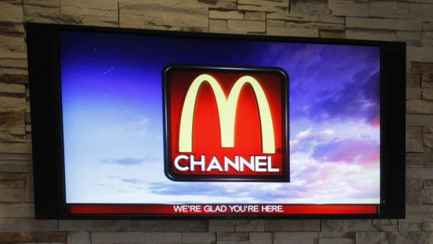 The new McDonald's television channel is seen on September 7, 2012, at a McDonald's restaurant in Norwalk, Calif.