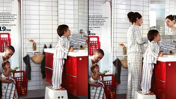 The image on the left shows part of a page from Ikea's catalog distributed in the United Kingdom; On the right, the same section is taken from its catalog distributed in Saudi Arabia.