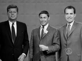 """John F. Kennedy and Richard Nixon pose with """"60 Minutes"""" founder Don Hewitt during the first televised presidential debate in 1960."""