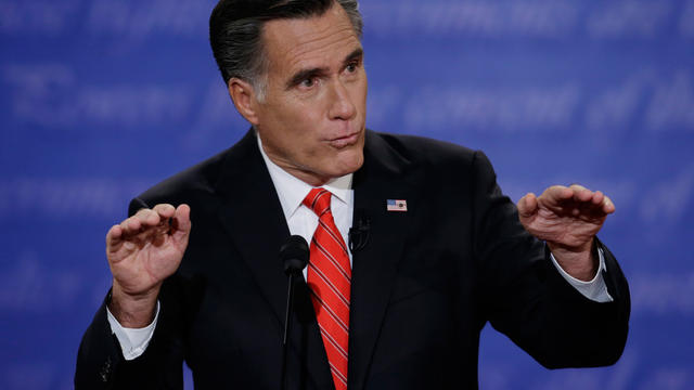 Republican presidential nominee Mitt Romney speaks during the first presidential debate with President Barack Obama at the University of Denver