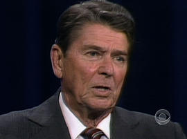 Ronald Reagan speaks during a presidential debate with Walter Mondale in 1984.