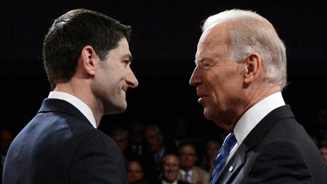 Vice President Joe Biden and Republican vice presidential nominee Paul Ryan of Wisconsin shake hands before the vice presidential debate at Centre College, Thursday, Oct. 11, 2012, in Danville, Ky.