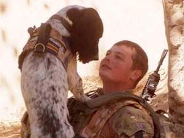 Lance Corporal Liam Tasker is pictured with his Springer spaniel mix, Theo. Theo, the bomb-sniffing army dog who died in Afghanistan on the day his handler was killed, has been honored with Britain's highest award for animal bravery.
