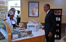"""Obama delivers """"Michelle-approved"""" donuts to firefighters"""