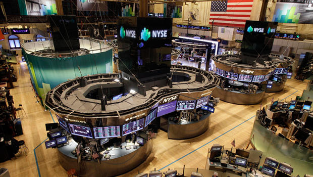 The trading floor of the New York Stock Exchange  is empty as New York's financial district braces for the onslaught of Hurricane Sandy