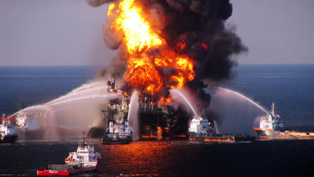 Fireboats battle a fire at the offshore oil rig Deepwater Horizon April 21, 2010, in the Gulf of Mexico off the coast of Louisiana.
