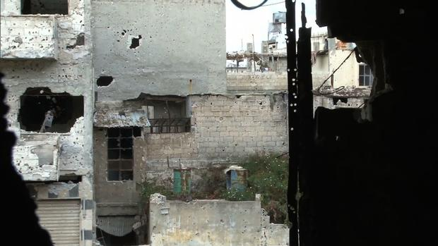 Damaged buildings in Baba Amr, an Homs neighborhood that has experienced intense fighting between Syrian rebels and the dictatorship's army.