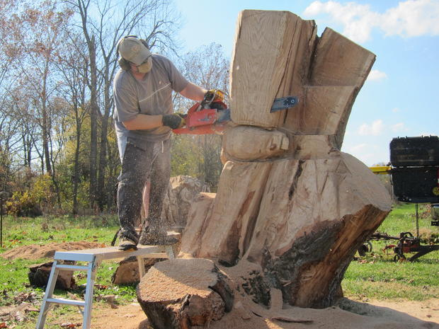 Chainsaw artist's wooden sculptures