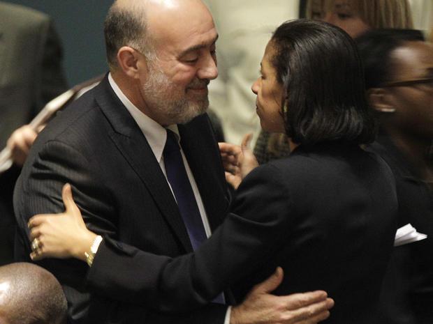 Israel's Permanent Representative to the United Nations Ron Prosor embraces U.S. Ambassador Susan Rice