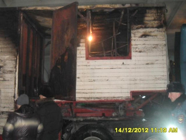 Russian circus elephants' burned trailer