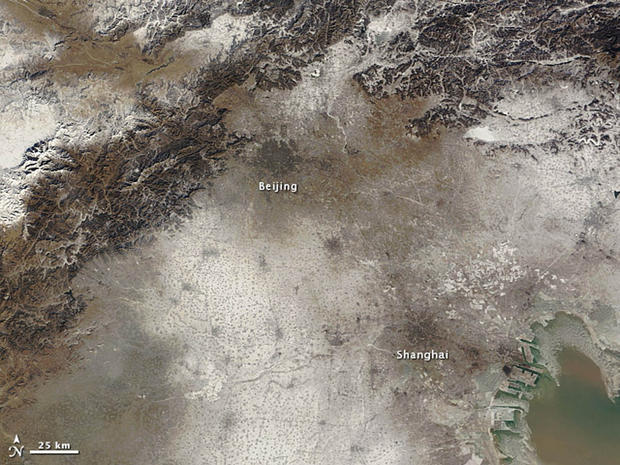 An image taken by NASA's Terra satellite of Beijing and the surrounding area on January 3.