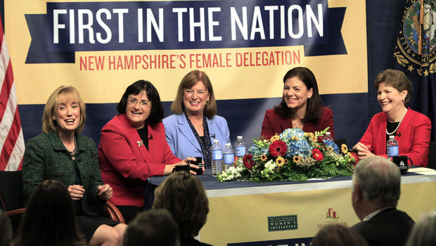 The five women holding New Hampshire's top political offices, from left, Gov.-elect Maggie Hassan, U.S. Reps.-elect Ann McLane Kuster and Carol Shea-Porter, and U.S. Sens. Kelly Ayotte and Jeanne Shaheen discuss what their lives are like as female politic