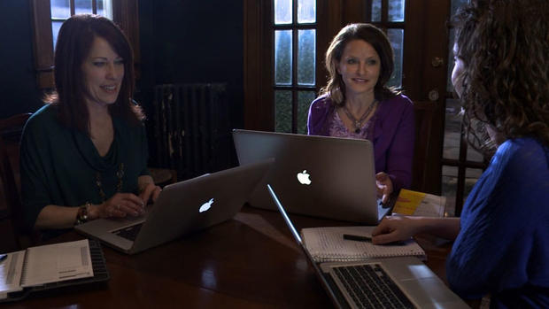 With the help of friends, Marti Hill, center, has created a website to help women recover from traumatic events.