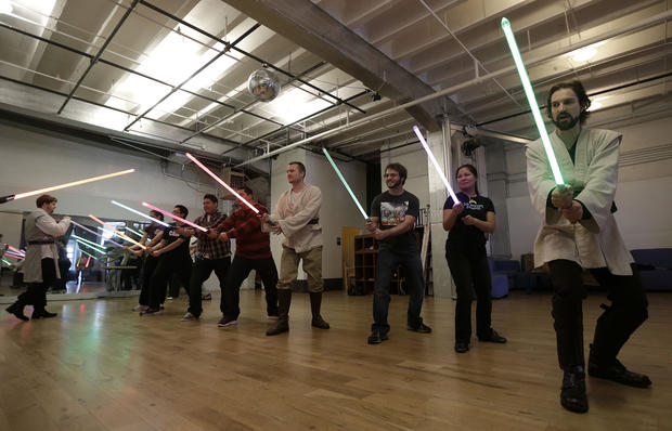 Star Wars fans get Jedi workout with light sabers