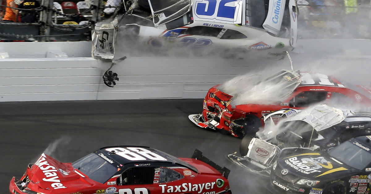 Daytona Crash Sends Car Parts Flying Injuring Fans CBS News