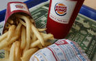 Burger King burger, fries and drink
