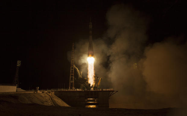 Space station mission blasts off in Kazakhstan