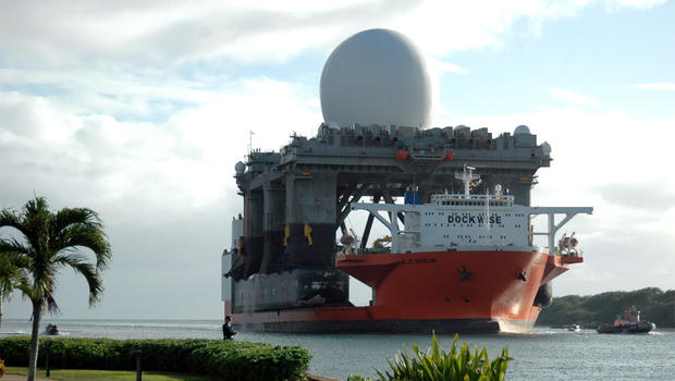 Ground-Based Midcourse Defense (GMD) sea-based radar platform arrives in Pearl Harbor aboard Heavy lift vessel Blue Marlin in January, 2006.