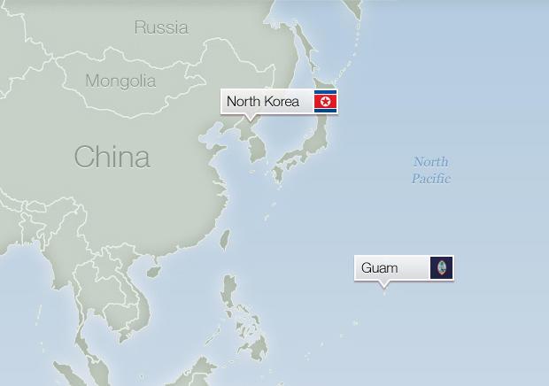 Map North Korea and Guam