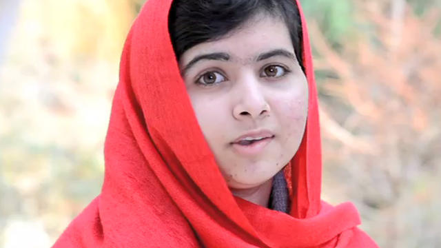 Malala Yousafzai, Pakistani teen shot by Taliban for advocating for girls' education, announcing first grant from fund named for her, in video from Britain seen by women's conference in New York, April 4, 2013. Teen shot by Taliban for advocating for girl