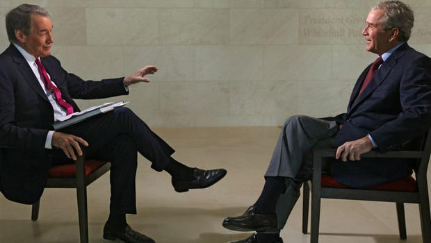 Charlie Rose and President George W. Bush