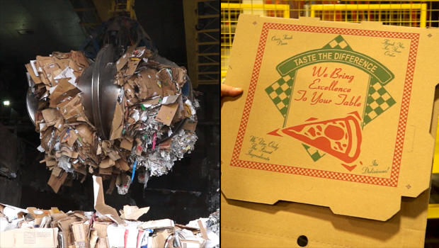 At left, a crane picks up tons of paper trash at Pratt Industries' paper mill in Staten Island. Twelve hours later, the paper is processed, rolled and turned into a pizza box that gets sold to distributors.