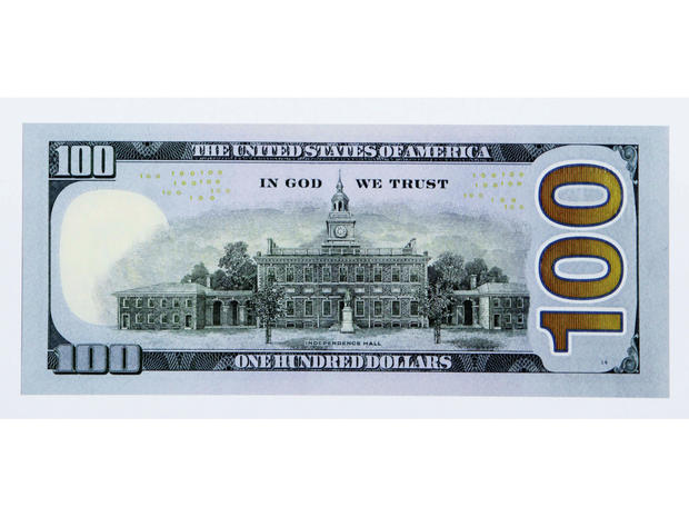 The reverse side of the new $100 bill is shown on April 21, 2010.