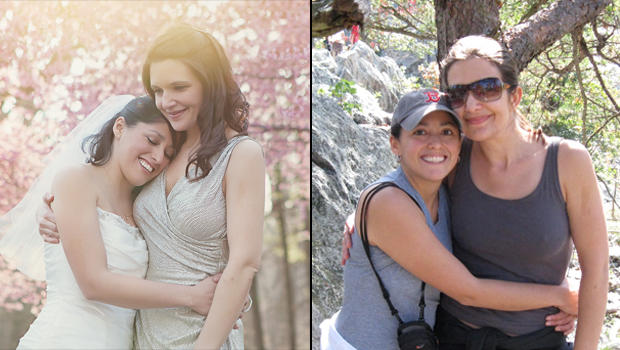 Jessica Chipoco and Lindsey Dawson on their wedding day and on one of their favorite hiking trails.