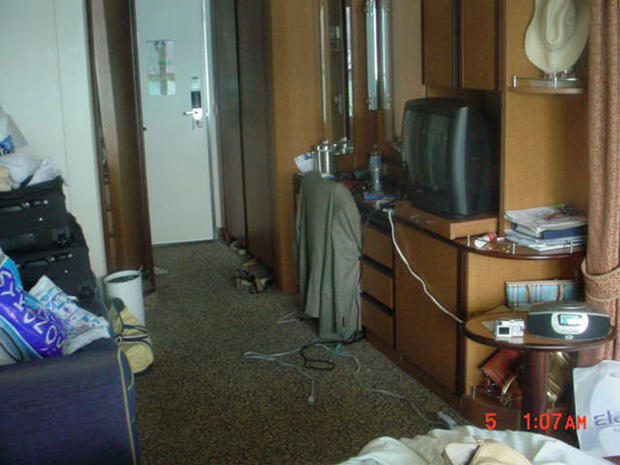 This photo was taken by the ship's safety officer upon entering the Smith cabin the morning of July 5, 2005.  The room is messy, but not trashed.