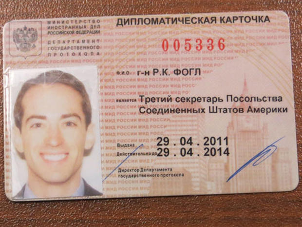 Purported Russian-issued diplomatic ID card of a U.S. man identified by Russian security services as Ryan Christopher Fogle