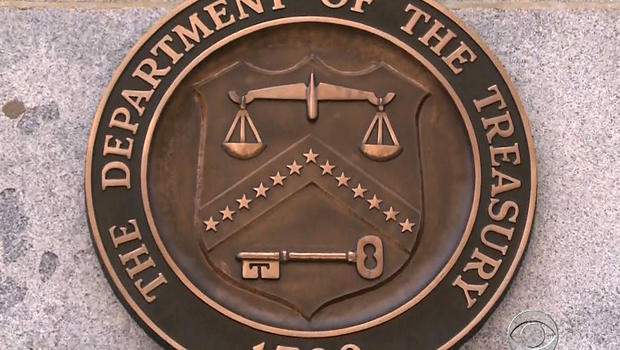 The seal of the Treasury Department is seen in this undated picture.