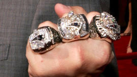 New England Patriots head coach Bill Belichick shows off his Super Bowl rings at the 13th Annual ESPY Awards at the Kodak Theatre on July 13, 2005 in Hollywood, California.