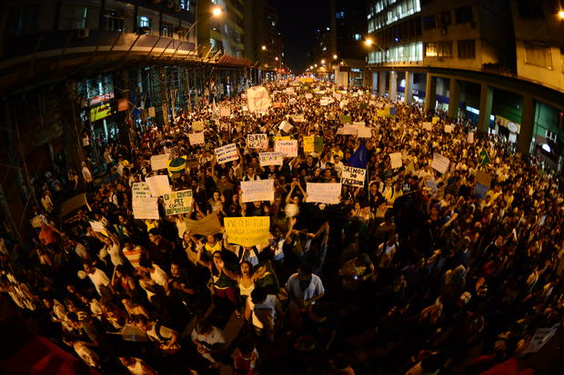Thousands of demonstrators march in downtown Niteroi, near Rio de Janeiro