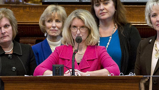 Rep. Jodie Laubenberg, R-Parker, center, sponsor of Senate Bill 5, is flanked by fellow Republicans during the second reading of the abortion bill on the House floor of the Texas State Capitol in Austin, Texas, on Sunday, June 23, 2013.