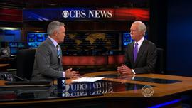 """""""CBS Evening News"""" anchor Scott Pelley interviews Capt. Chesley """"Sully"""" Sullenberg on July 8, 2013."""