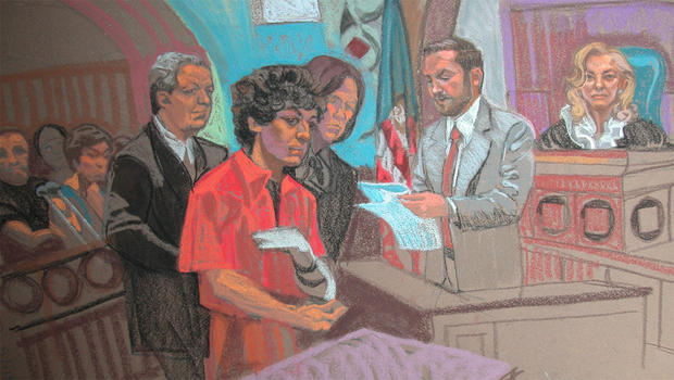 This courtroom sketch by Christine Cornell shows Boston bombing suspect Dzhokhar Tsarnaev during his arraignment at a Boston court on Jul 10, 2013.