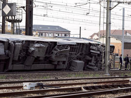 A derailed train carriage is seen at the site of an accident in the railway station of Bretigny-sur-Orge, France, July 12, 2013, near Paris.