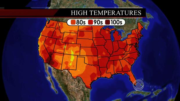 Temperatures across the United States on July 16, 2013.