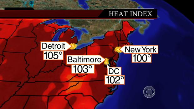 Map of the United States shows temperatures for major cities on Wednesday, July 17, 2013.