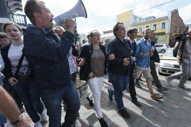 Russian opposition leader Alexei Navalny supporters march in Kirov, Russia
