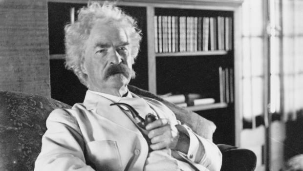 The American humorist Samuel Clemens, a.k.a. Mark Twain, photographed c. 1900-1910.