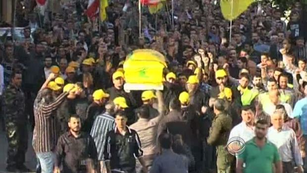 A funeral for a Hezbollah fighter in Lebanon.