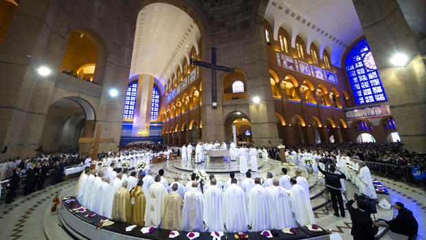 Pope Francis celebrates Mass inside the Our Lady of Aparecida Basilica in Aparecida, Brazil, Wednesday, July 24, 2013. Pope Francis is on the third day of his trip to Brazil where he will attend the 2013 World Youth Day in Rio.