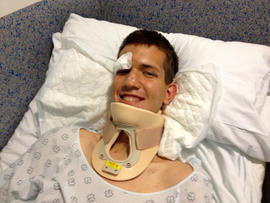 A Mormon missionary from Utah, Stephen Ward, 18, is seen hospitalized July 25, 2013, in this picture provided by the Church of Jesus Christ of Latter-day Saints for injuries sustained in a train crash in Spain.